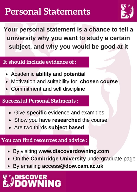 Personal Statements | Discover Downing